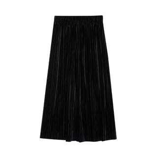 [全新]韓國ALAND黑色長裙 (Velvet Pleats)