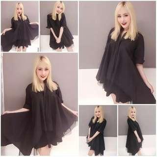 🚚 韓國高檔黑色寬鬆多層次紗長版上衣 黑色長版上衣 黑色洋裝 黑色娃娃裝 孕婦裝 設計師洋裝