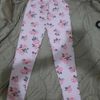 PRELOVED BUT NEW : COTTON LEGGING ROSE FLOWER PINK