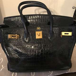 Leather crock Hermes Style Bag