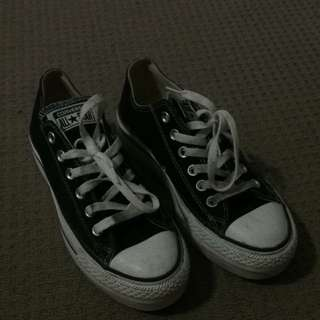 Double Heel Black And White Converses