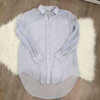 Zara Striped linen Button Down Shirt