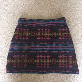 Aztec Patterned High Waist Skirt