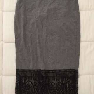 Grey And Lace Midi Skirt