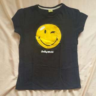 Black Smiley Tee (Winking Smiley face)