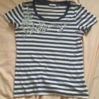 Bossini Striped Tee With Sailor-themed Design And Studs