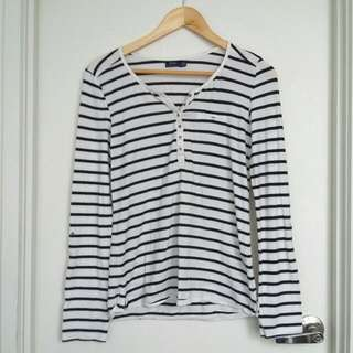 Bershka Striped Long-Sleeve Shirt- Size M