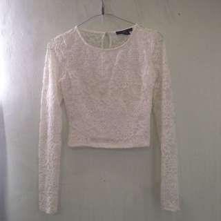 Forever21 Long Sleeve Lace Crop Top