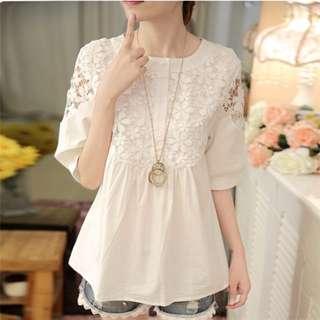 [全新] 日韓服飾 - 新款白色甜美小清新蕾絲棉麻上衣