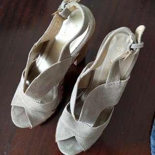 Platform Sportsgirl Suede Wooden Shoes - Size 8