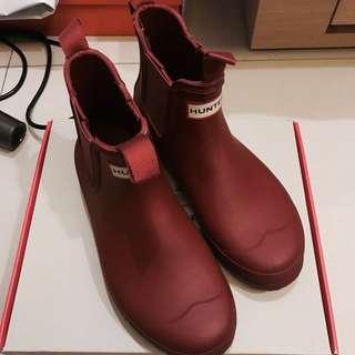 Hunter boots 紅色短靴雨靴 38