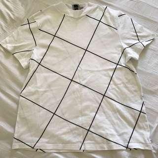 Asos Grid Pattern High-neck Tshirt