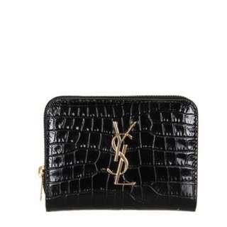 YSL Compact Zip Croc Wallet In Black