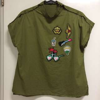 Patched Green Top