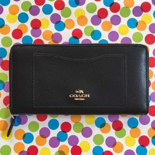 Coach Black Leather Accordion Wallet