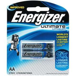 Energizer AA Ultimate Lithium Batteries 2 Piece Pack - 9X longer lasting than Energizer Max