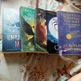 Quidditch Through The Ages, Unravel Me, Percy Jackson, Coraline.