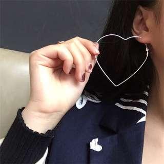 氣質原宿風耳釘鏤空愛心桃心耳環誇張超大圓圈耳環