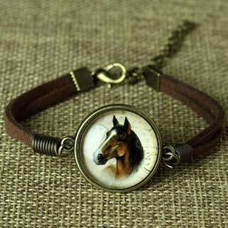 ANIMALS LOVERS GLASS & LEATHER BRACELET 8 STYLES