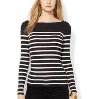 Lauren Ralph Lauren Metallic-Stripe Button-Shoulder Tee