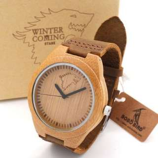 WOODEN BAMBOO QUARTZ WATCH WITH LEATHER STRAP