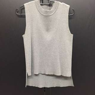Grey Mock High Neck Ribbed Top