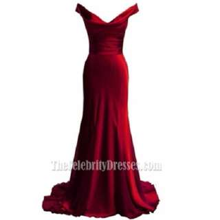Elegant Red Off the shoulder Prom Dress Evening Formal Dress Size 8 - 10