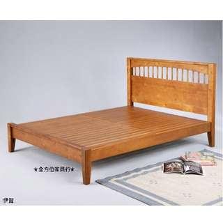 全新5尺伊賀柚木色實木床架