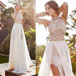 Halter Neck Busty Bare Back Wedding Bridesmaid Dress Gown In White