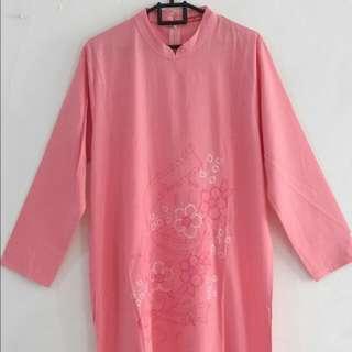 Gamis Panjang Pink Bordir Cantik