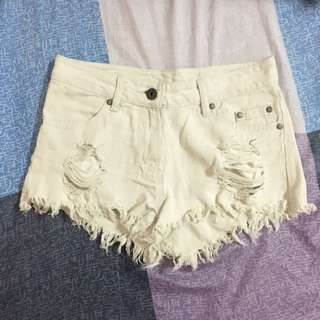 White Ripped Maong Shorts