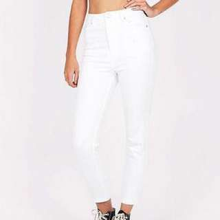 Insight High Waisted White  Denim Jeans