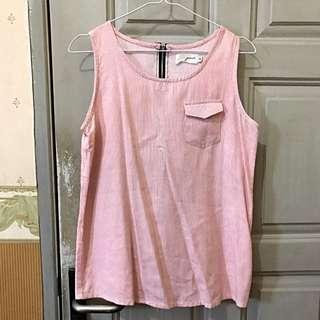 Gaudi No Sleeve Pink Stripe Blouse