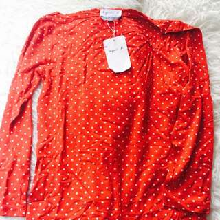 Agnes B Red Polka Dot Top