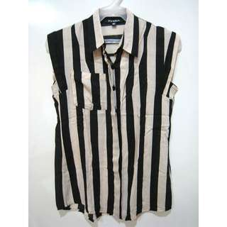 Tiara Black and Beige Striped Sleeveless Collared Top - Small