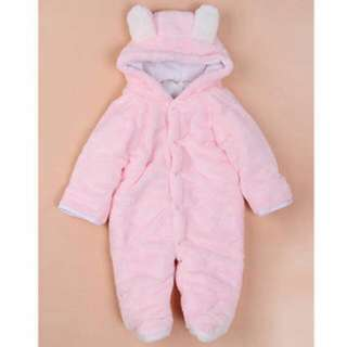 Baby Romper Cartoon Animal Hooded Warm Jumpsuits Autumn Winter Baby Clothes (Pink)