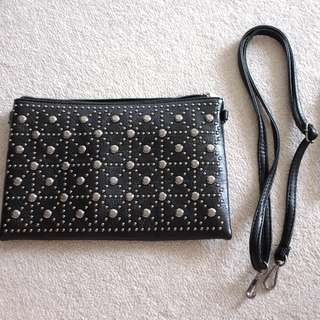 Studded Black Clutch/Pouch/Hand Bag