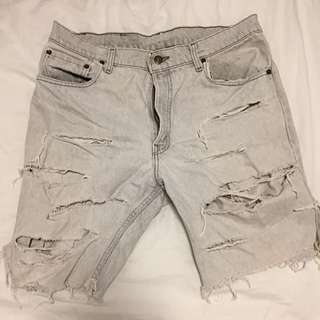 Light Grey Levi's Ripped Shorts