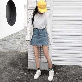 韓版水洗牛仔短裙牛仔裙