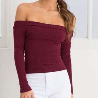 WINE RED MAROON OFF SHOULDER CROP TOP