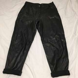 Vintage High Waisted Leather Trousers