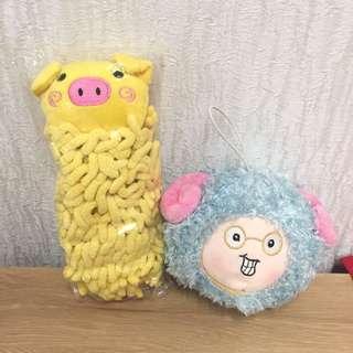 豬豬擦手毛巾(可掛) 羊娃娃球 #免購物直接送