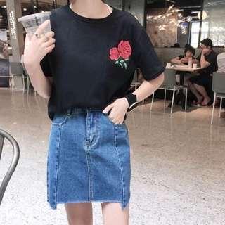 Uneven Slit Skirt