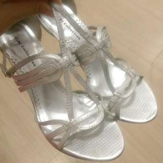 Gibi Collection strappy silver heels, size 8