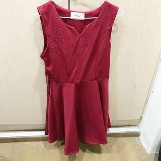 東京著衣 Mayuki 洋裝 暗紅色 #運費我來出