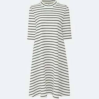 Uniqlo Turtleneck Dress (blue And White Stripe)