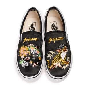 全新品 正品 VANS ROLLICKING X VANS slip-on 刺繡 橫須賀懶人鞋 日本限定女 黑色