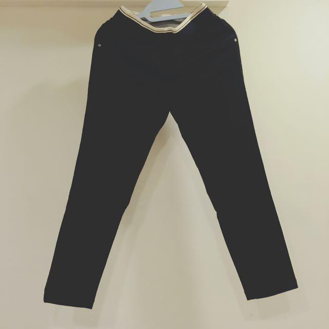 時尚彈性黑色九分褲