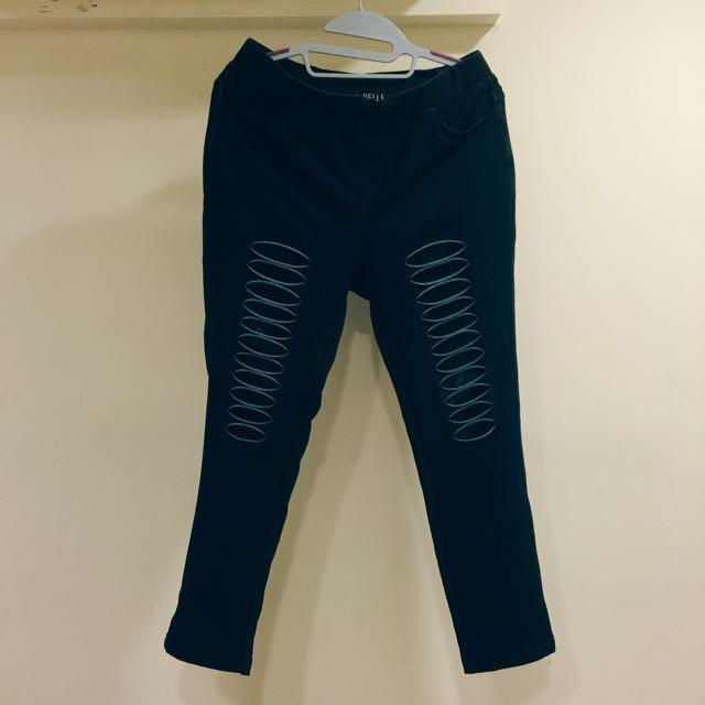 深藍彈性蕾絲破褲