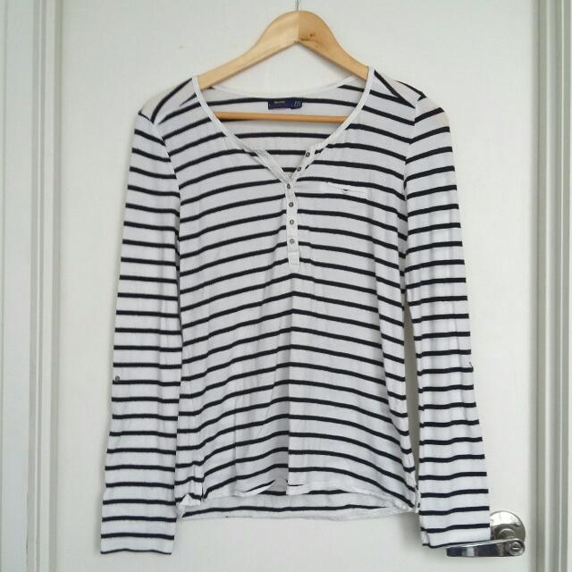 Bershka Striped Long-Sleeve Shirt- Size M